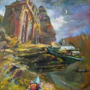 Landschaft mit Booten